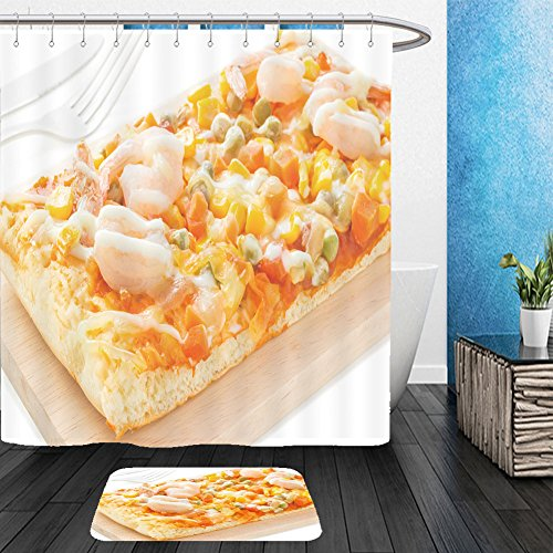 Homemade Pizza Slice Costume (Vanfan Bathroom 2 Suits 1 Shower Curtains & 1 Floor Mats homemade delicious fresh a slice of pizza on wooden plate ready to eat with isolated on white 448192027 From Bath room)