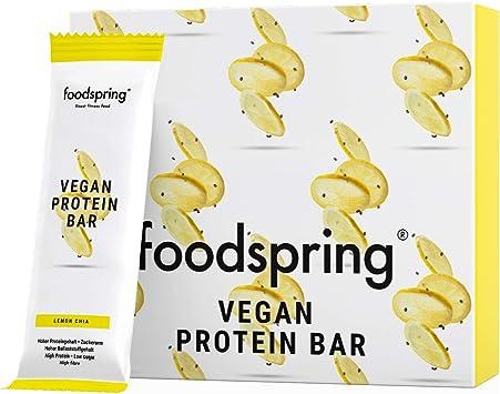 foodspring Barrita Proteica Vegana, Chia et citron, 12 x 60g, Barre Protéinée végétale sans arômes artificiels, peu de sucre et riche en protéines ...