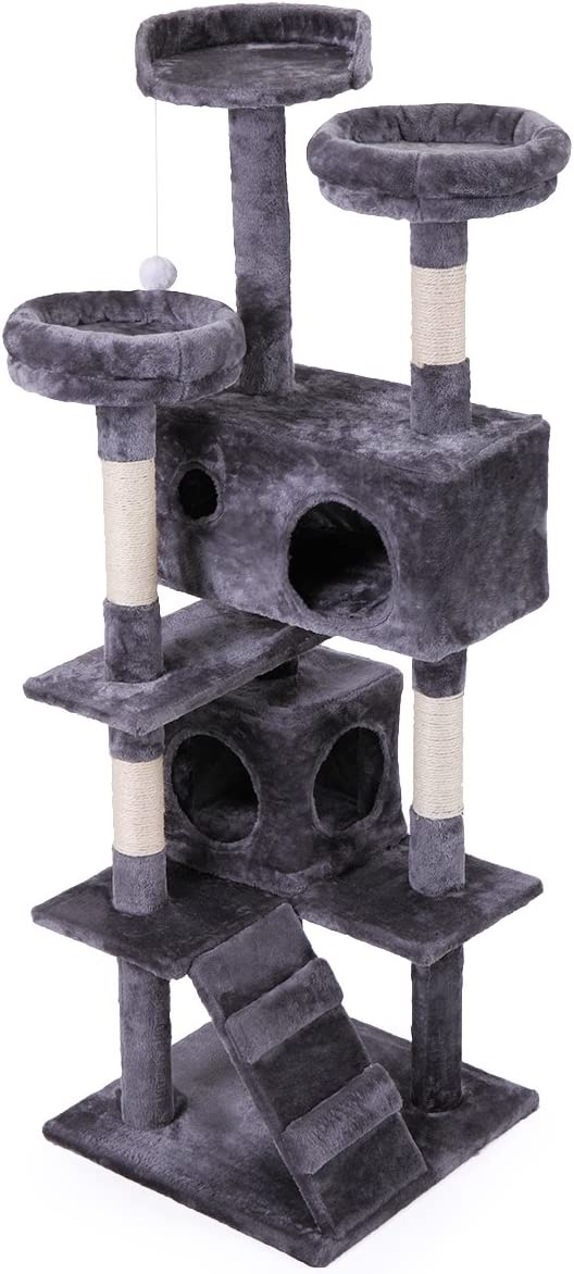 """JAXPETY 60"""" Multi-Level Cat Tree Tower, Kitten Condo House with Scratching Posts, Kitty Play Activity Center"""
