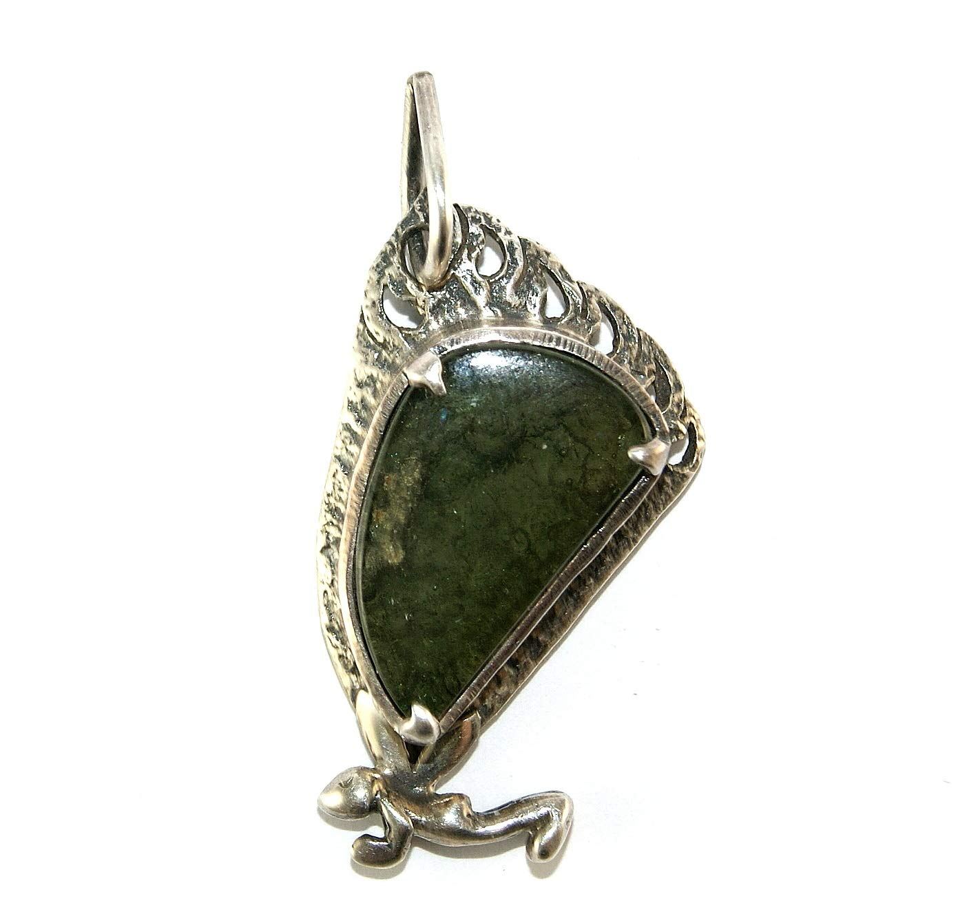 Moldavite Large Sterling Silver Fairy Butterfly Design Pendant by Gifts and Guidance