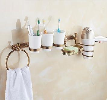 ZXY Soportes para secador de Pelo Estantes de baño de Cobre Antiguo Secador de Pelo Portavasos