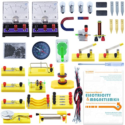 LERBOR STEM Physics Science Lab Basic Circuit Learning Kit Electricity and Magnetism Experiment Introduction for Kids Junior Senior High School Students Electromagnetism Elementary (Electromagnet Kit)