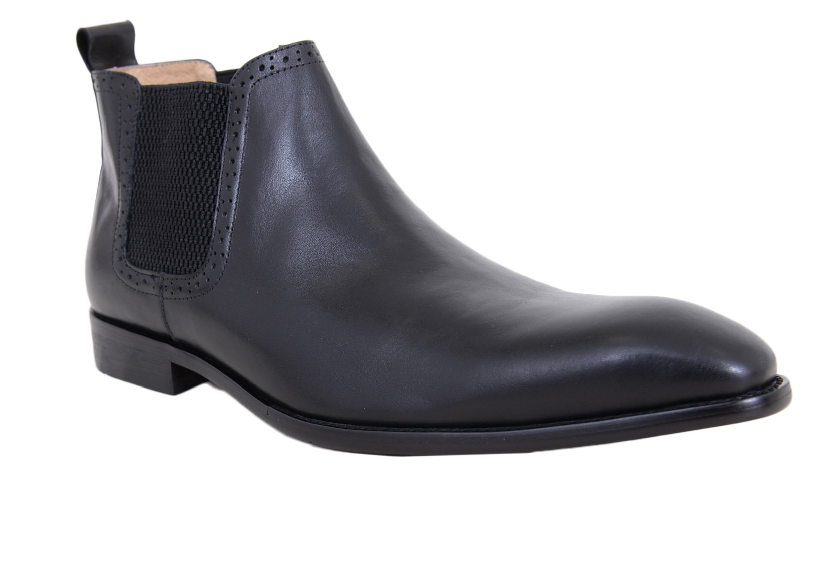 Carrucci Solid Black Slip On Leather Ankle Chelsea Dress Boots