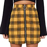 4Clovers Women's Mid Waist Above Knee O-Ring Zipper Front Plaid Pencil Skirt Bodycon A Line Mini Skirt Yellow