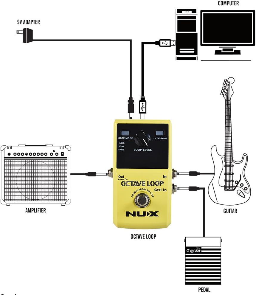 ammoon NUX OCTAVE LOOP Guitar Loop Pedal Looper 5 Minutos de ...