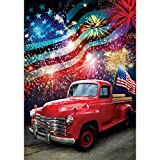 Patriotic Truck - Standard Size, Decorative Double Sided, Licensed and Copyrighted Flag - Printed IN USA by Custom Decor Inc. 28 Inch X 40 Inch approx.