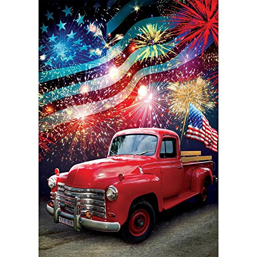 Cheap Patriotic Truck – Standard Size, Decorative Double Sided, Licensed and Copyrighted Flag – Printed IN USA by Custom Decor Inc. 28 Inch X 40 Inch approx.