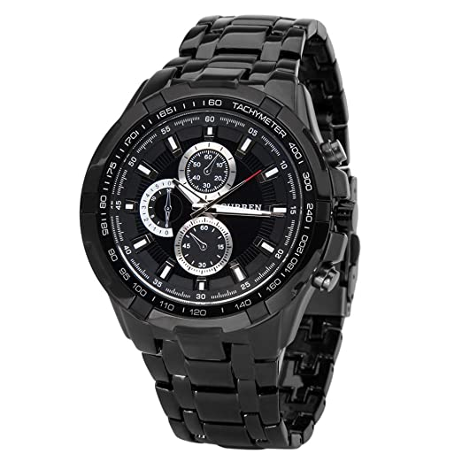Amazon.com  CURREN 8023 Black Sport Round 3 Dial Stainless Steel Men ... 0a14bae7ab3