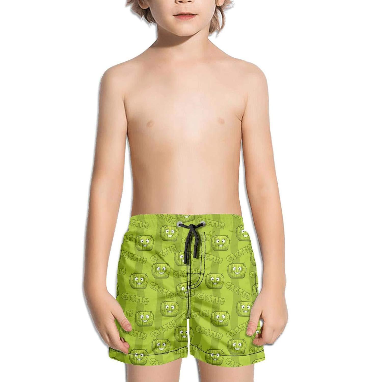 Voslin Kids Unisex Square Smiley Cactus Beach Swim Trunks Quick Drying Drawstring Shorts