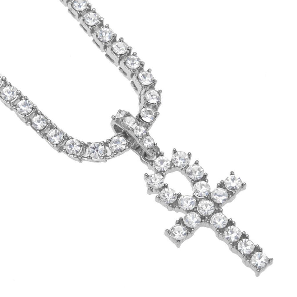 Botrong® Hip Hop Men Women Jewelry Bling Rhinestone Crystal Key Cross Pendant Necklace (Silver, 20)
