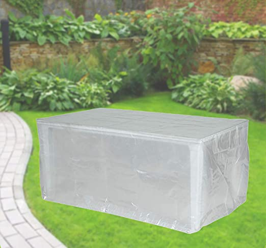 Fachhandel Plus - Funda protectora para mesas de jardín rectangulares (180 x 100 x 75 cm), transparente: Amazon.es: Jardín
