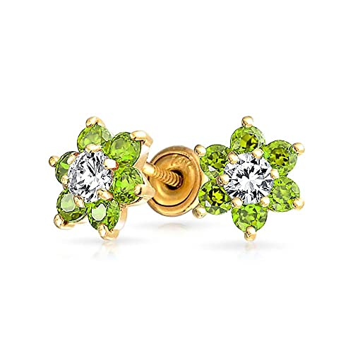 Tiny Lime Green CZ Flower Stud Earrings For Women For Teen Cubic Zirconia Simulated Peridot 14K Real Gold Screwback