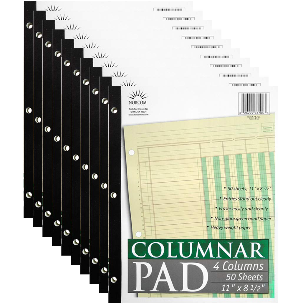 Norcom Columnar Pad 4 Columns (10-Pack), Made in The USA, 11 x 8.5 Inches, 50 Sheets (76704) by JustWritin' by JustWritin'