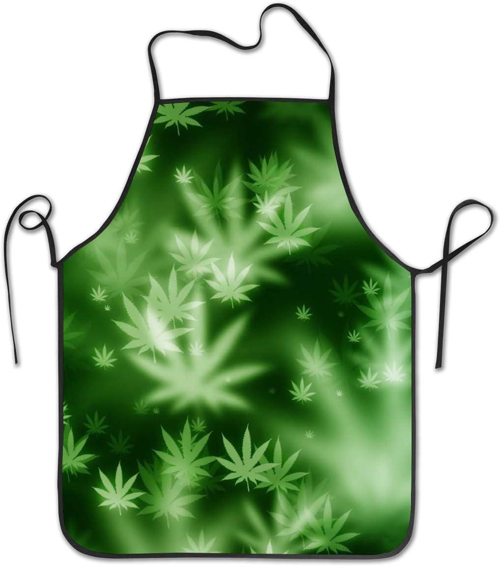 Delantal de cocina Delantales de babero Mujeres Hombres Delantales de chef profesional con corbatas extra largas - Hoja de marihuana psicodélica Hoja de marihuana, Delantal de camarera impermeable par
