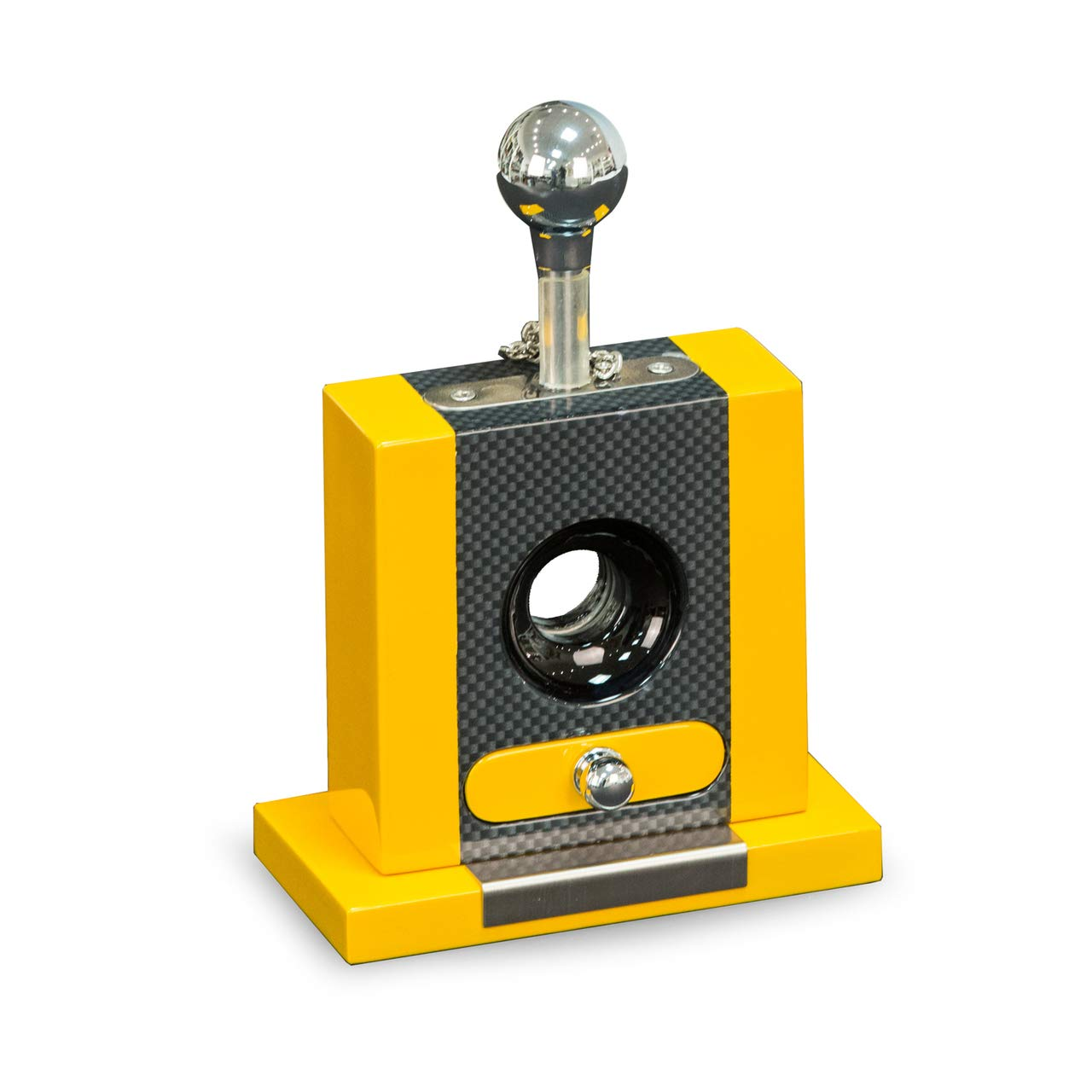 Executive Carbon Fiber and Yellow Lacquered Wood Table Top Guillotine Cigar Cutter with Drawer for Cutting