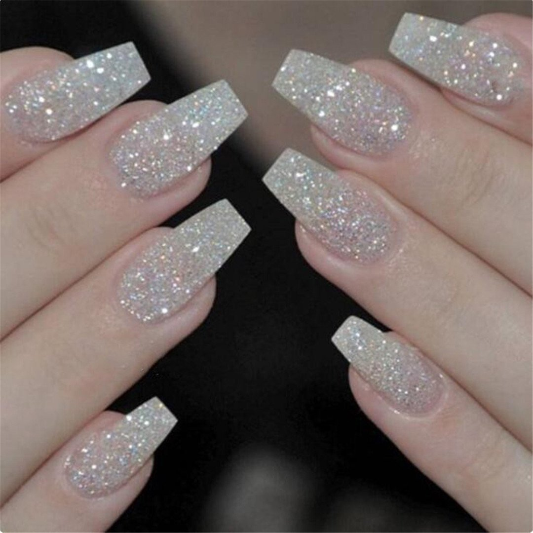 100PCS/Box Ballerina Nails False Nails Full Cover Natural/White/Clear Coffin Nail Tips Artificial French Fake Nail Tips Transparent by HERTQWER