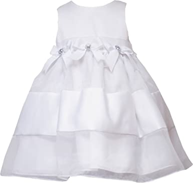 b0cc7c5887076 Rare Editions Little Girls 2T-6X White Satin Organza Triple Bow Flower Girl  Social Dress