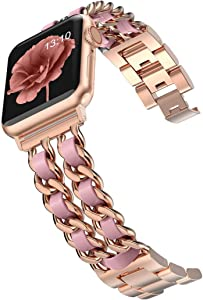 Wearlizer Chain Bands Compatible with Apple Watch Band 38mm 40mm for Women,iWatch Dressy Fancy Stainless Steel Band Leather Loop Replacement Strap Bracelet for Apple Watch Series 6 5 4 3 2 1 Gold+Pink