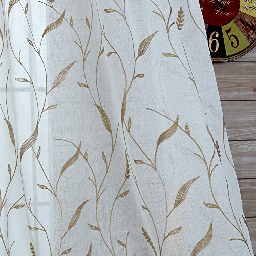 Norbi Embrodiery Floral Sheer Voile Tulle Room Decor Curtain