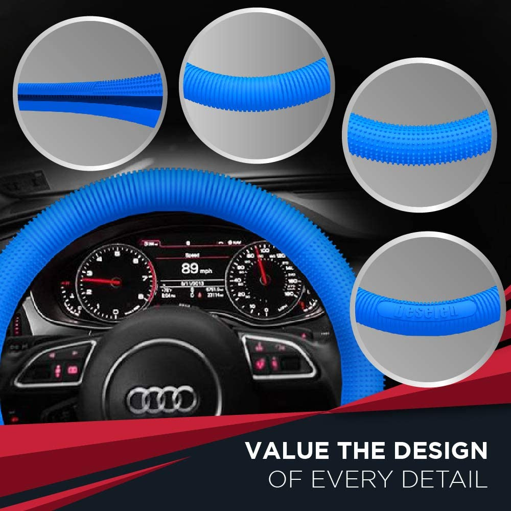 Deselen 15 Inch Silicone Steering Wheel Cover Universal Fit Wheel Protector Blue
