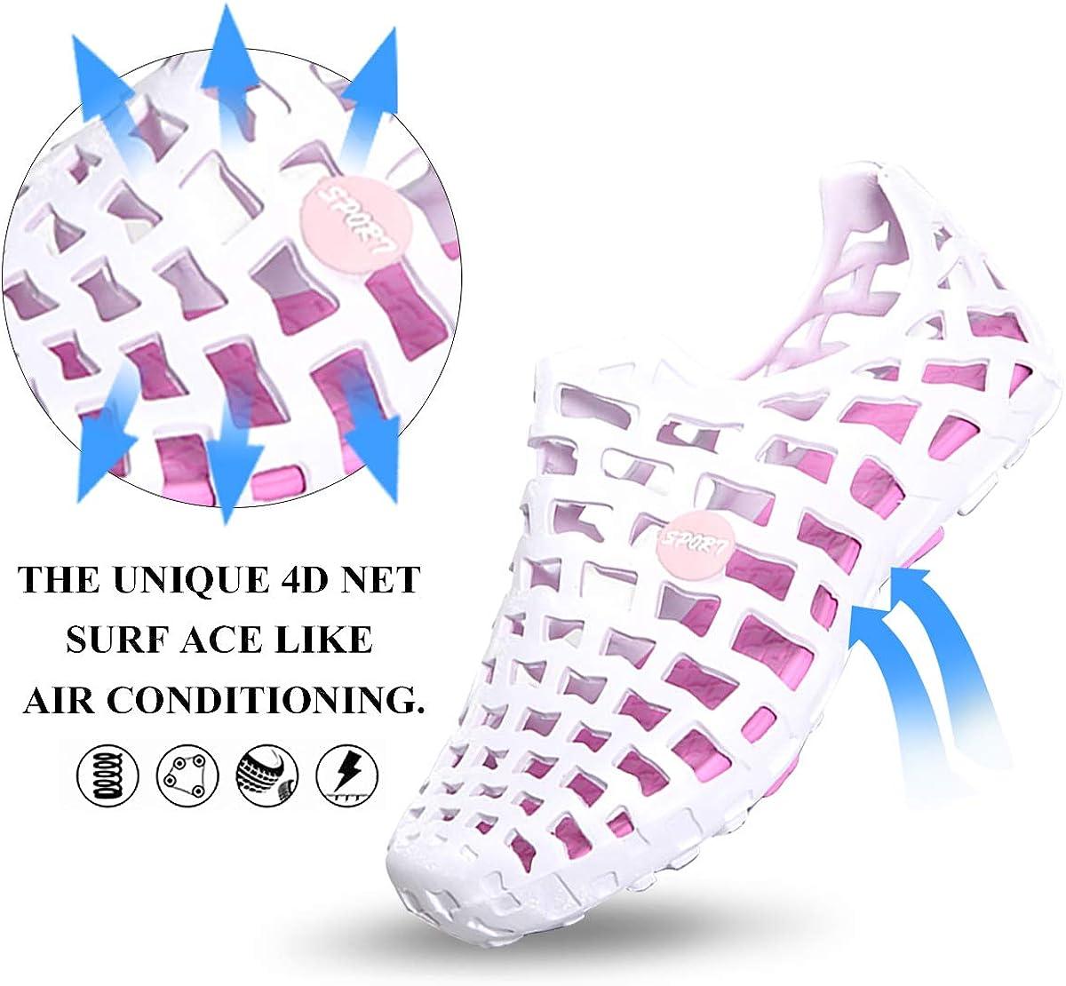 Sandales de Sport Aquatiques en Plastique /à Talons Plats Chaussons Ext/érieur /Ét/é pour Plage Piscine Mer Souple Gracosy Chaussures de Plage Homme Femme Noir Bleu Gris Rose