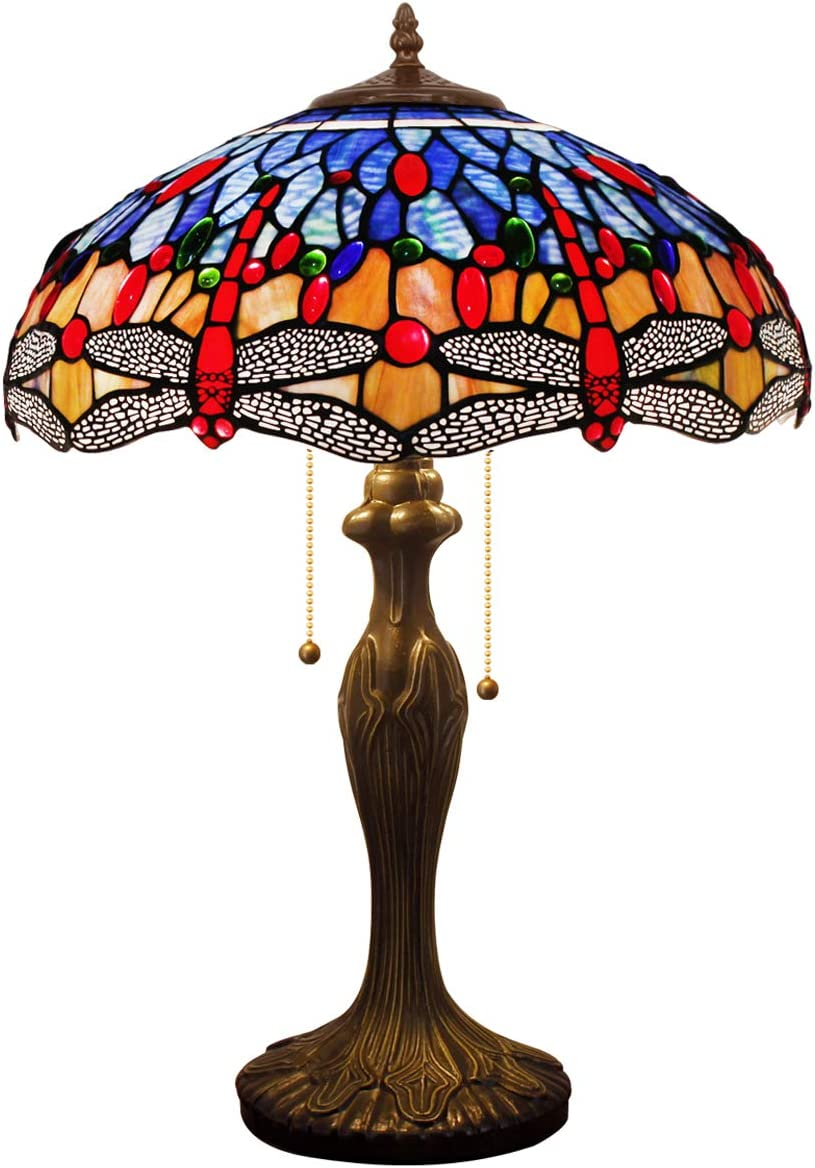 Tiffany Style Table Lamp Desk Bedside Reading Light W16H24 Inch Blue Orange Stained Glass Crystal Bead Shade S688 WERFACTORY Lamps Parent Lover Kid Living Room Bedroom Dresser Antique Art Craft Gifts