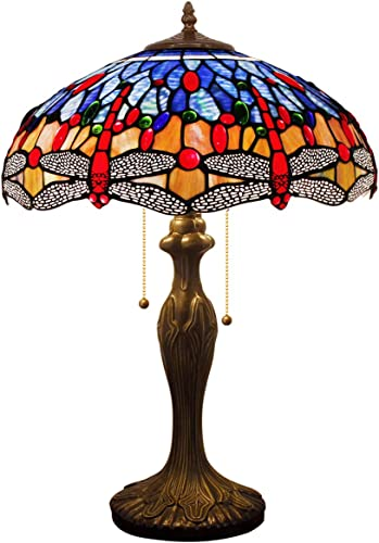 Tiffany Style Table Lamp Desk Bedside Reading Light W16H24 Inch Blue Orange Stained Glass Crystal Bead Shade S688 WERFACTORY Lamps Parent Lover Kid Living Room Bedroom Dresser Antique Art Craft Gift
