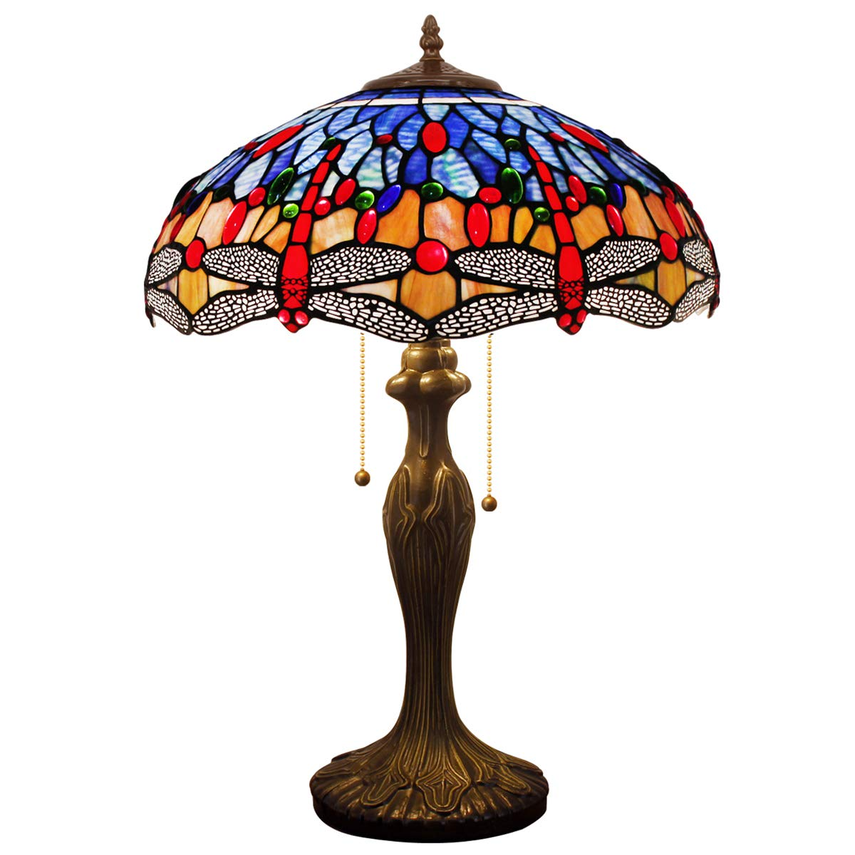 Tiffany Style Table Desk Beside Lamp 24 Inch Tall Blue Orange Stained Glass Shade Crystal Bead 2 Light Antique Zinc Base for Living Room Bedroom Dresser Bookcase S688 WERFACTORY