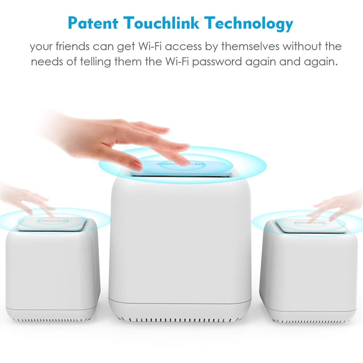 AC1200 Dual Band 2.4Ghz 1 Mesh Router + 2 Satellite Gigabit Port 5Ghz Smart Wireless WiFi System with Touchlink WAVLINK Halo 3 Whole Home Mesh WiFi System 6000.sq.ft Coverage Pack of 3