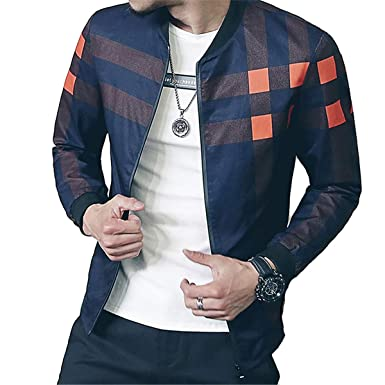 Mens Casual Bomber Jacket Long Sleeve Zip Up Plaid Outerwear Coat