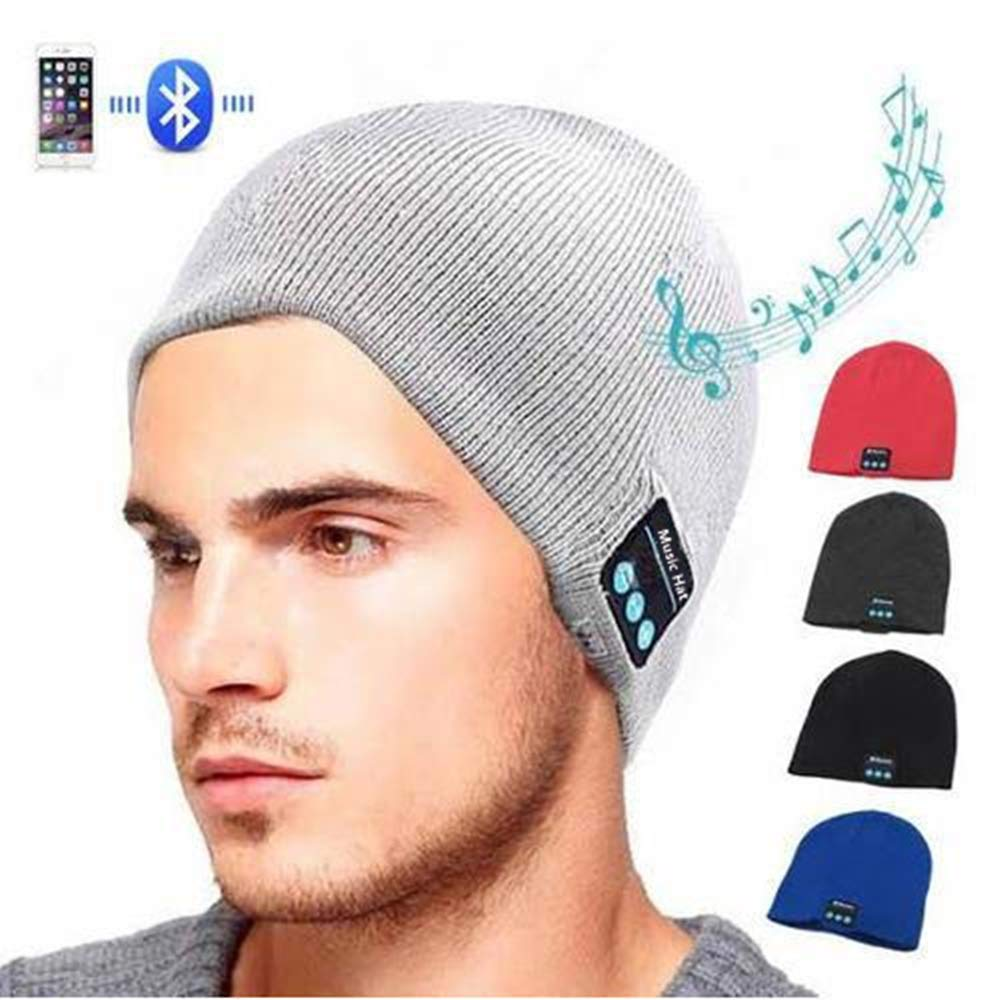 Pardecor Wireless Hat Beanie, Knit Music Cap with V5.0 Headphones Headset, Unique Christmas Tech Gifts for Women Mens (Light Grey) by Pardecor