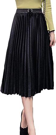 Las Mujeres De Cintura Alta Falda Plisada Invierno Elegante ...