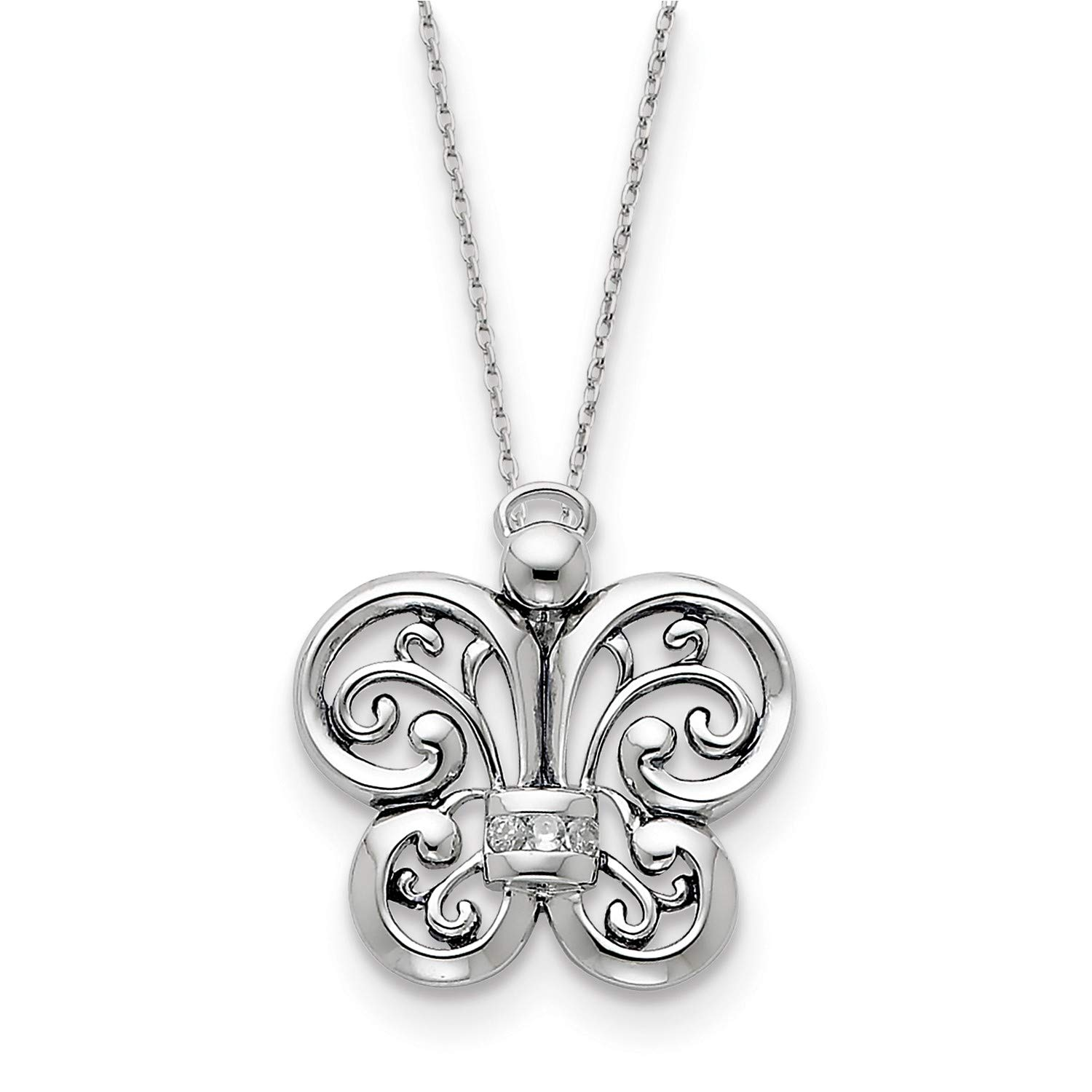 18 CZ Angel of Courage Pendant Necklace 25x25MM Antiqued Rhodium-Plated Sterling Silver