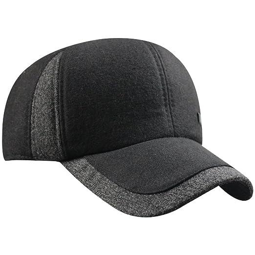 eYourlife2012 Mens Winter Warm Fleece Lined Outdoor Sports Baseball Caps  Hats with Earflaps (1684- 5d6fa22711fa