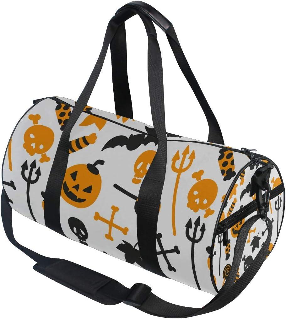 MALPLENA Cute Pumpkin Lamp Drum gym duffel bag women Travel Bag