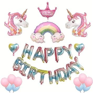 FulMin 17Pcs Unicornio Decoración de cumpleaños para niña ...