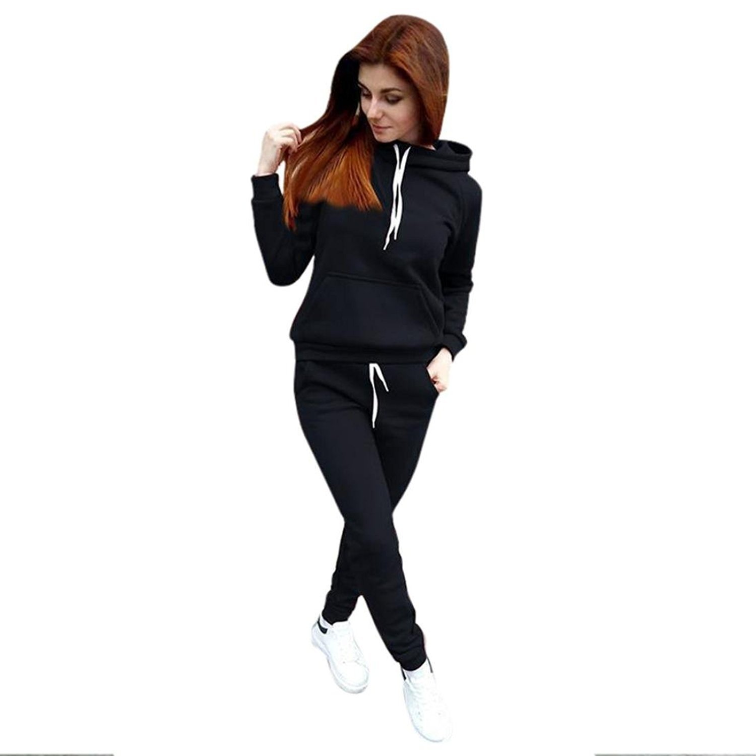 Challyhope Tracksuit, Women Casual Sweatshirt Hoodie + Sweatpants Two-Pieces Outfit (Black, M)