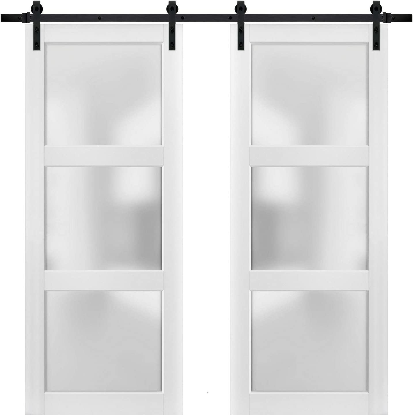 Solid Panel Interior Doors Top Mount Stainless Steel 6.6FT Rail Hangers Heavy Set Felicia 3312 Ginger Ash Gray Sturdy Barn Door 18 x 80 inches Frosted Glass 12 Lites