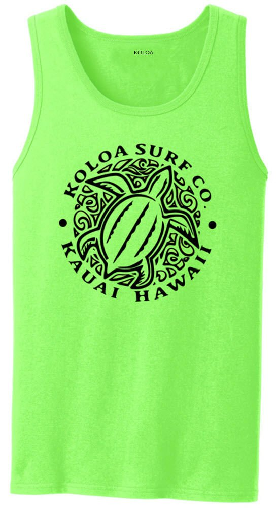 Koloa Surf(tm) Hawaiian Honu Turtle Logo Tank Top-Neongreen/b-L
