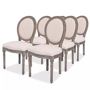 Vidaxl 6x Chaise De Salle A Manger Lin Chaises De Cuisine Chaises A Manger