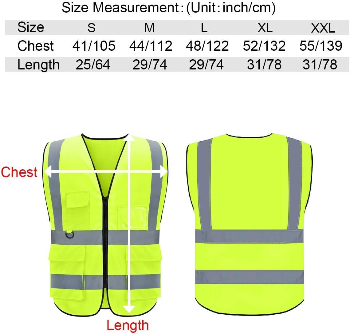 10 Pack Custom Logo Safety Vest Customize Class 2 Visibility Reflective Vests Bulk with Pockets and Zipper