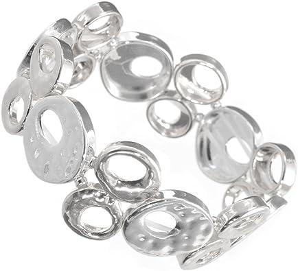 En caja de regalo pulsera de moda: elegante martillado tono de plata pulsera elástica con un simple Open discos en un estilo del 70 (Gr48): Amazon.es: Joyería