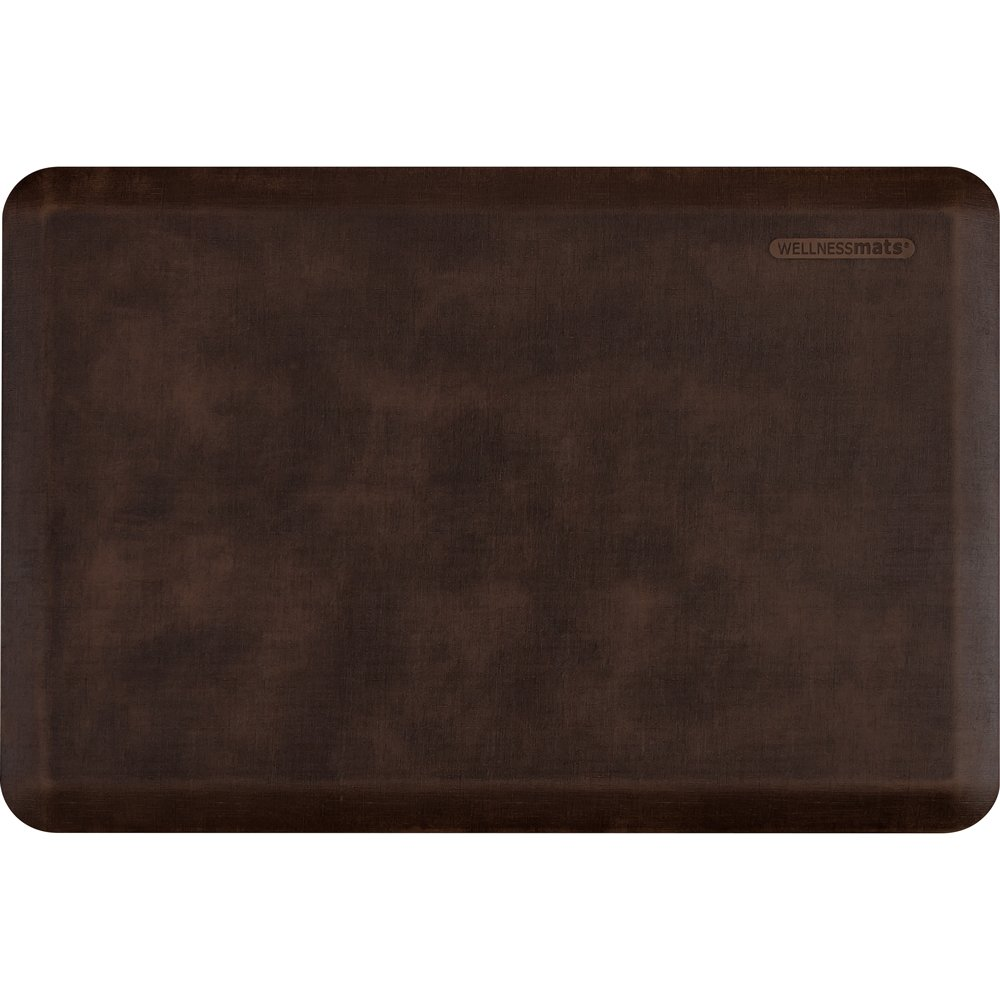 WellnessMats Anti-Fatigue 36 Inch by 24 Inch Linen Motif Kitchen Mat, Antique Dark