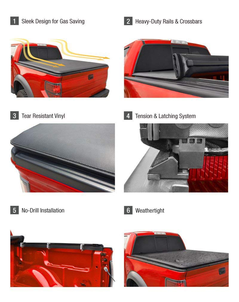 Roll Up Truck Bed Tonneau Cover Works with 2004-2008 Ford F-150 Styleside 5.5 Bed ; 2005-2008 Lincoln Mark LT Excl. 2004 Heritage