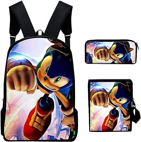 3 en 1 Sonic 3D Impreso Conjunto de Mochila Escolar para niños con Mochila de Hombro y Estuche Mochila Negra Set de 3 Piezas para Adolescentes niños niñas,H: Amazon.es: Deportes y aire
