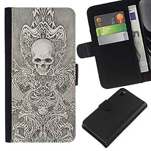 All Phone Most Case / Oferta Especial Cáscara Funda de cuero Monedero Cubierta de proteccion Caso / Wallet Case for Sony Xperia Z3 D6603 // Skull Throne Anger Abstract Metal