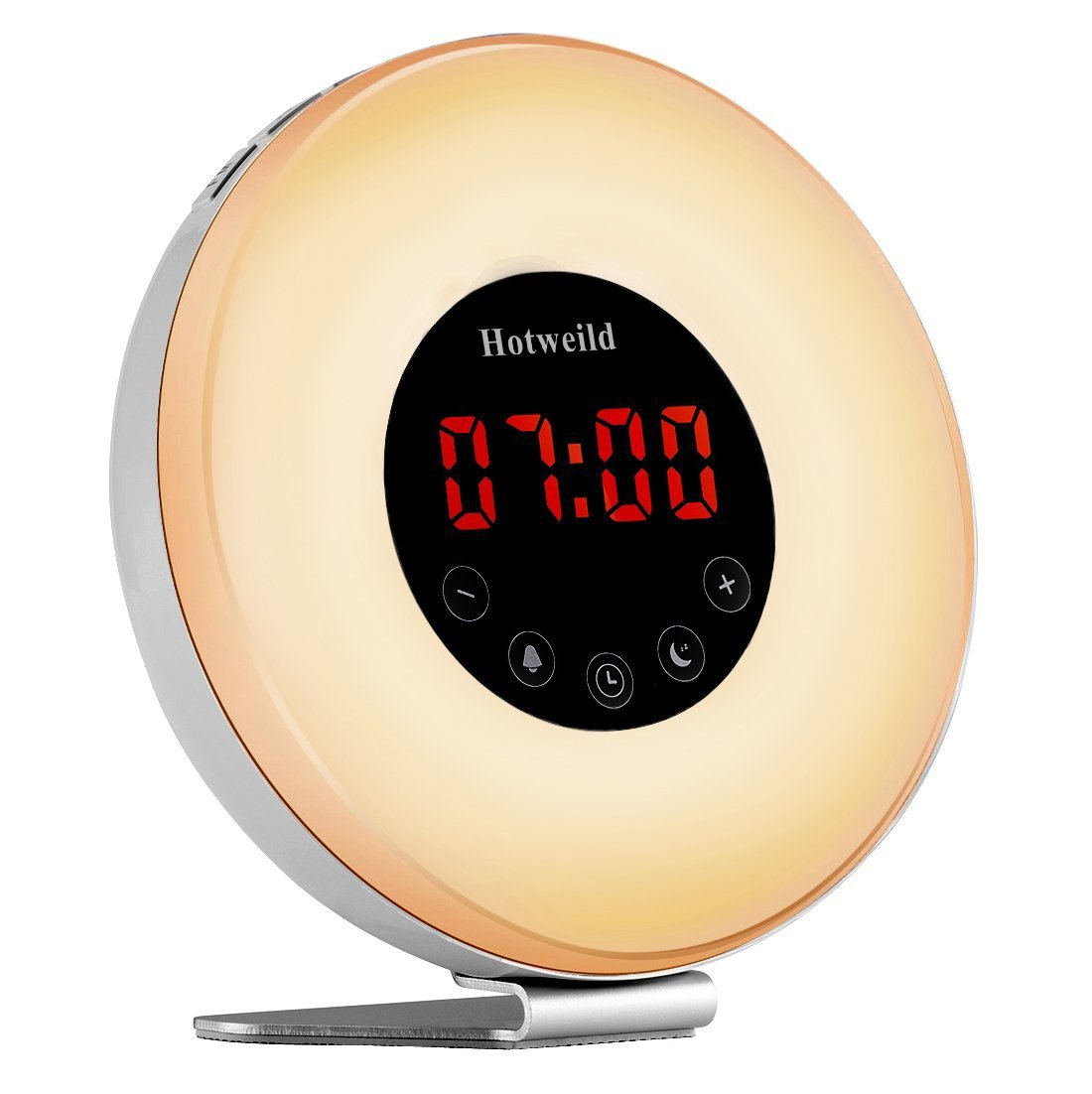 Alarm clock, Hotweild Sunrise & Sunset Simulator USB LED Digital Clock Wake up Light [Luxury Edition] with FM Radio Touch Control 7 Colors and 6 Nature Sounds Night Light Table Lamp, product image