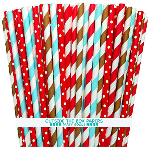 Outside the Box Papers Sock Monkey Theme Polka Dot and Striped Paper Straws 7.75 Inches 100 Pack Brownk, Red, Light Blue, White -