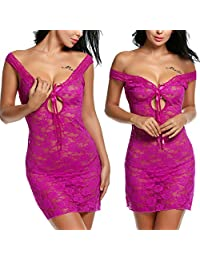 Avidlove Women See-through Lingerie Lace Chemise Floral Nightgowns Outfits Red (FBA)