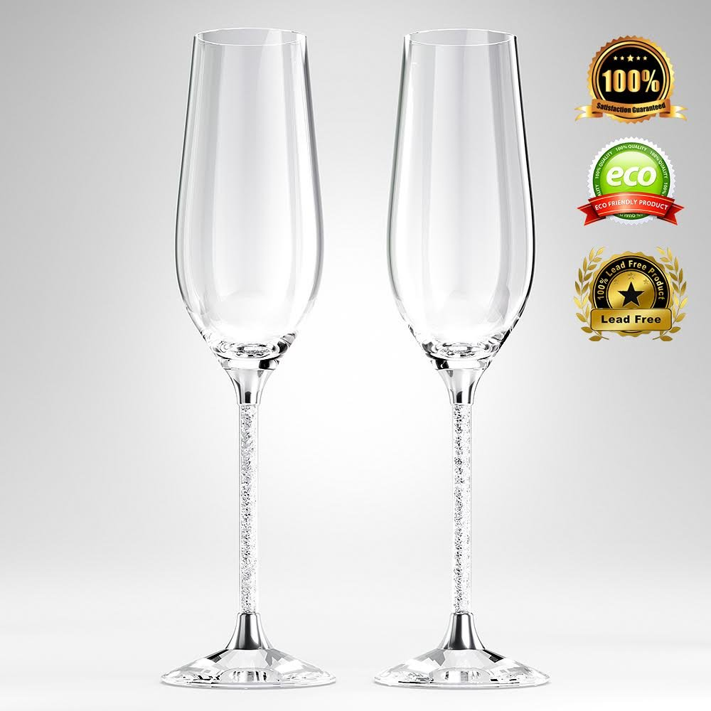 unique champagne flutes. Amazon.com | Crystal Champagne Glasses By Vindi Design. Unique Silver Leaf Stem Toasting Flutes. Lead Free Set Of 2 + Gift Box, Black. Flutes S